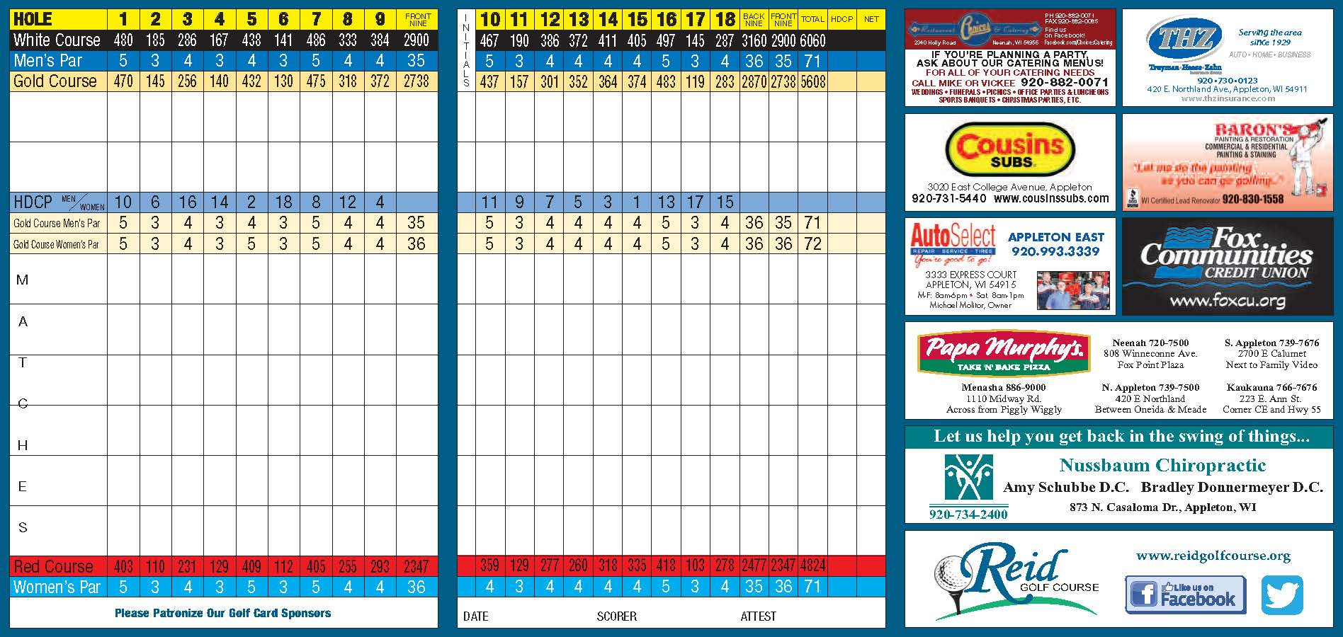 Scorecard Reid Golf Course